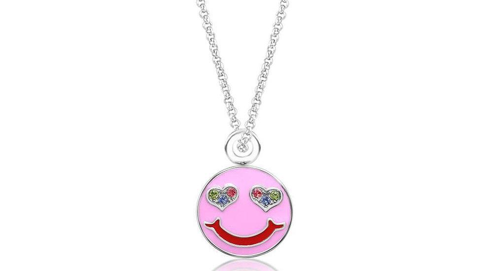 Crystal Pink Enamel Happy Emoji Pendent