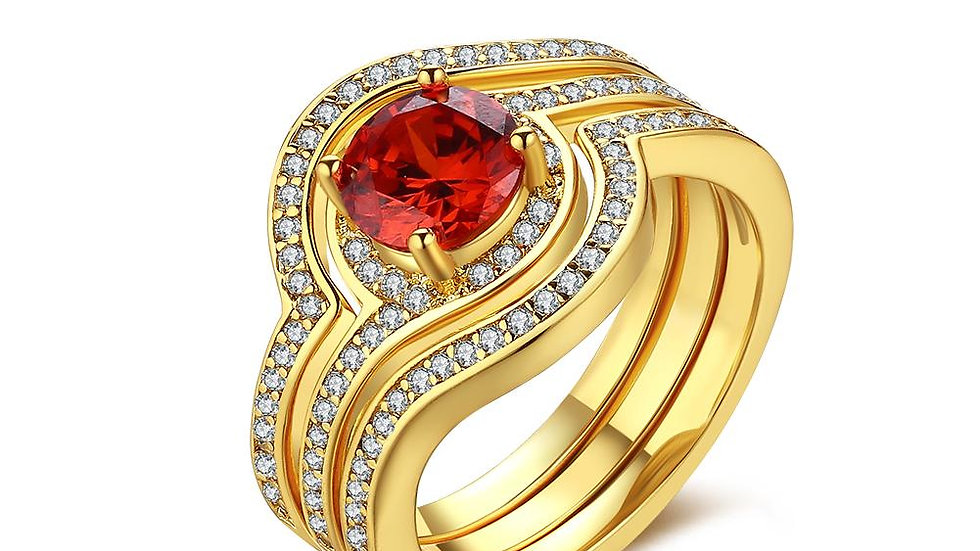 18K Gold Plated Livia Red Crystal Ring made with Swarovski Crystals