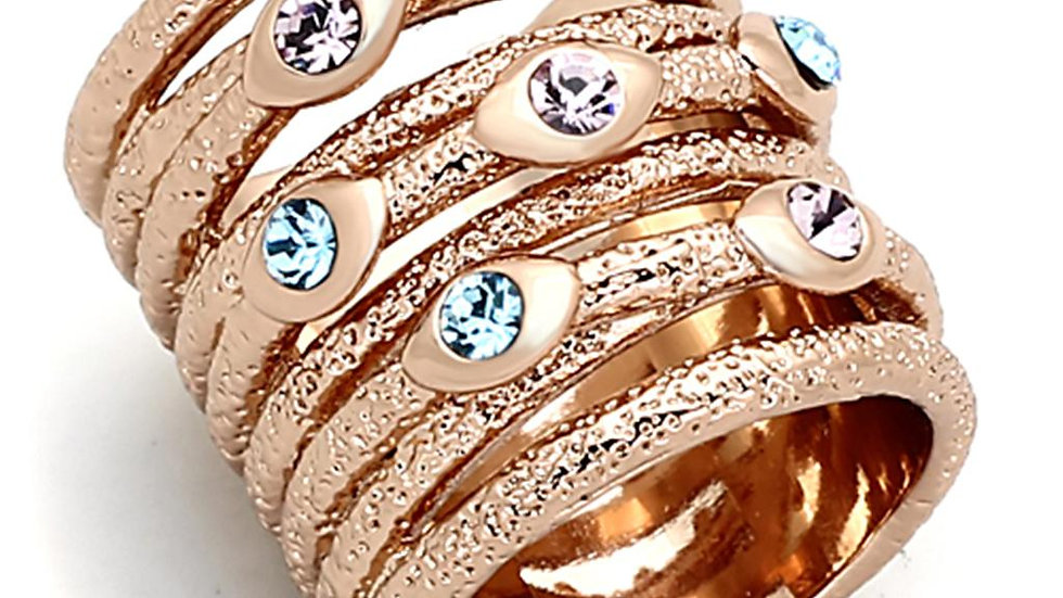 LOA909 Rose Gold Brass Ring with Top Grade Crystal
