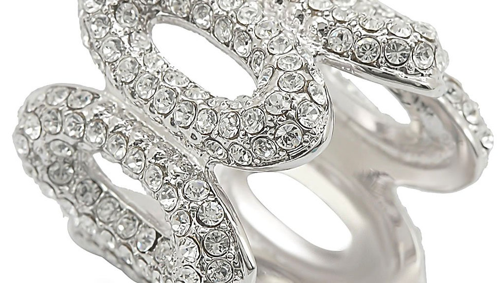 1W032 Rhodium Brass Ring with Top Grade Crystal in