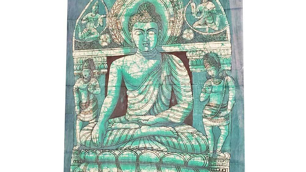Batik Theme Buddha in Enlightenment Vintage Tapestry Banner