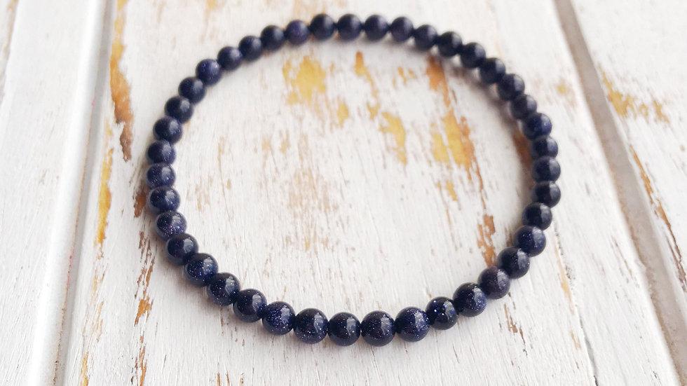 4mm Blue Goldstone Bracelet