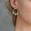 Thumbnail: Cutout Charm Crystal Dangle 18k Gold Plated Earrings