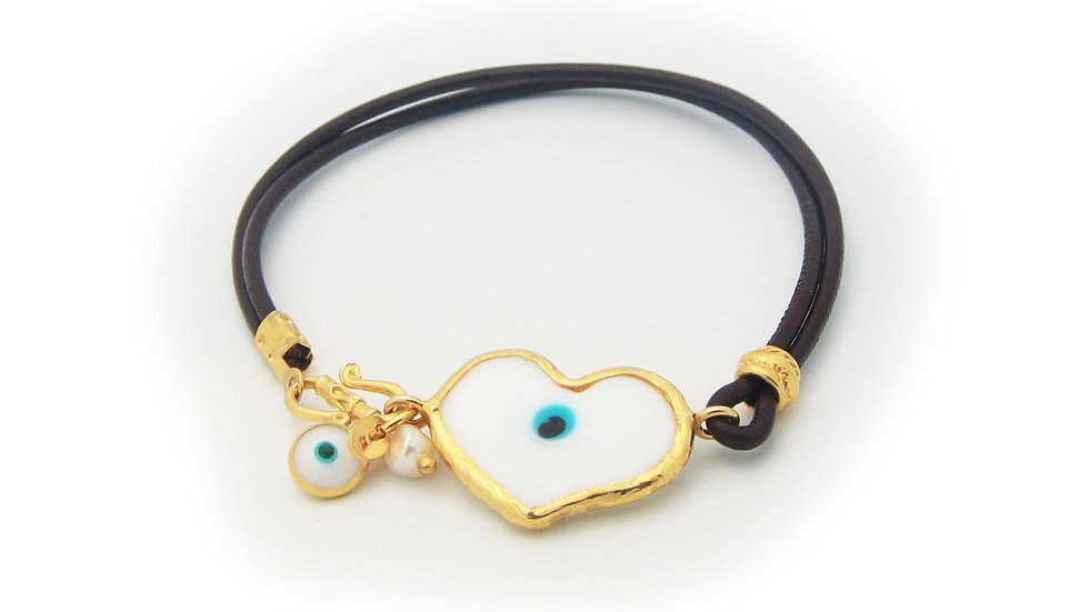 Crystal Evil Eye Leather Bracelet
