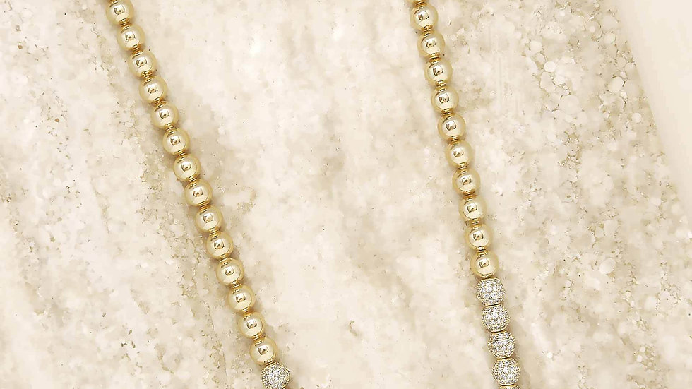 Show Yourself 18k Gold Plated and Crystal Bead Necklace