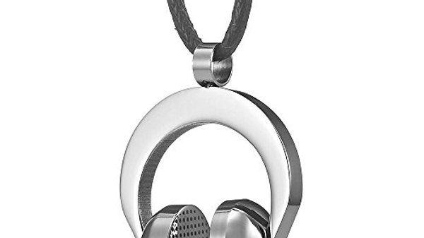 Men's Necklace,  Stainless Steel Headphones on Black Cord, Holiday Gift for Men