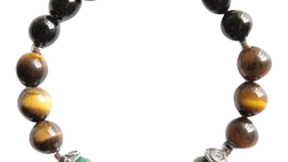 Black Onyx, Malachite & Tiger's Eye Sterling Silver Bracelet