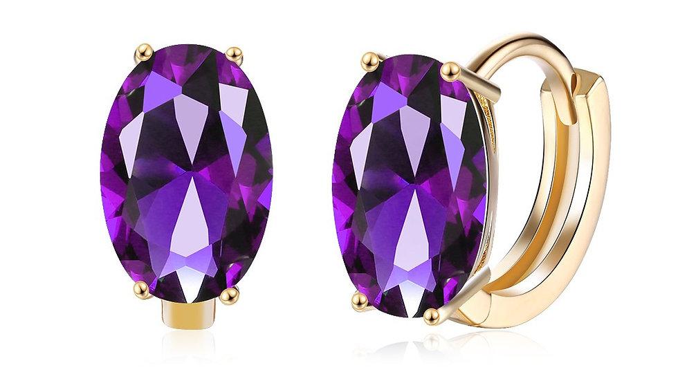 14K Gold Plating Large Diamond Cut Swarovski Elements Clip On