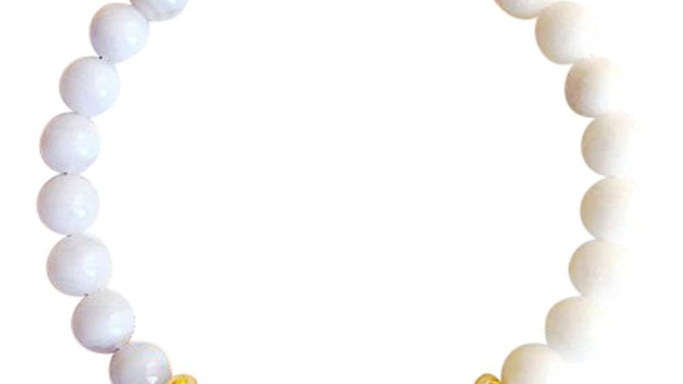 Blue Lace Agate, White Agate & Aventurine Gold Filled Bracelet