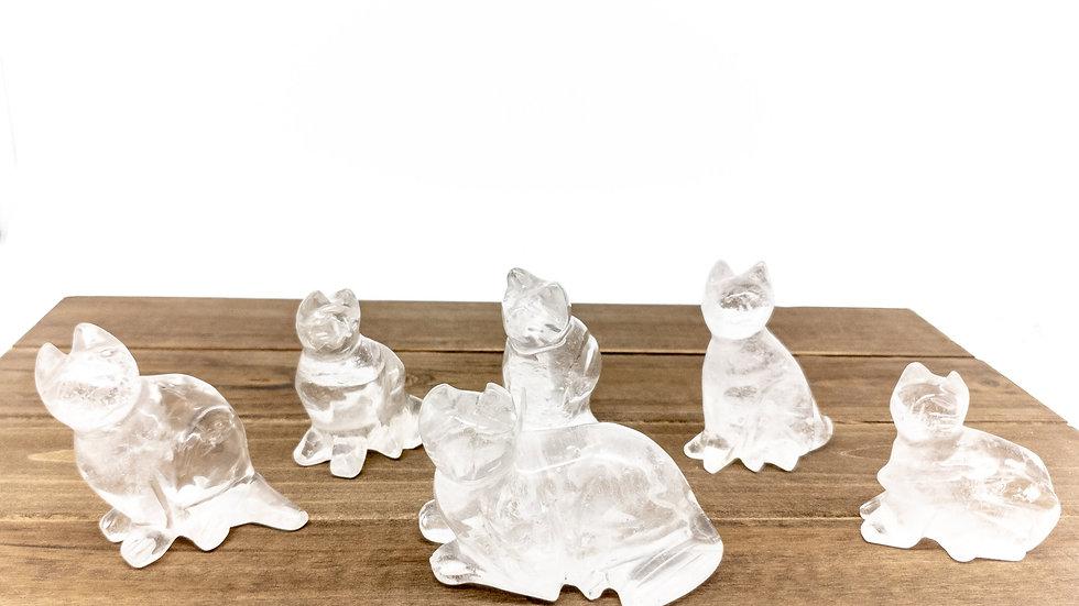 Clear Quartz Cat Statues