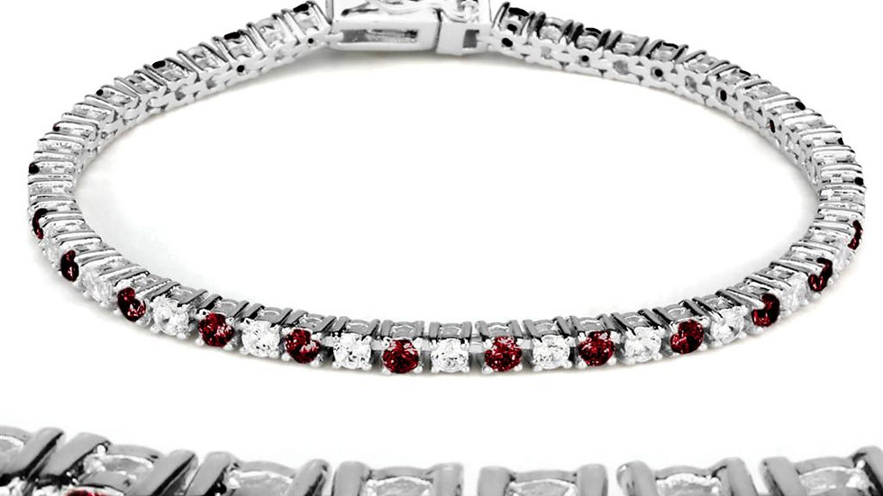 46902 Rhodium Brass Bracelet with Synthetic in