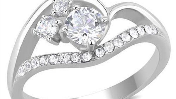 Women Stainless Steel Cubic Zirconia Rings TK3243