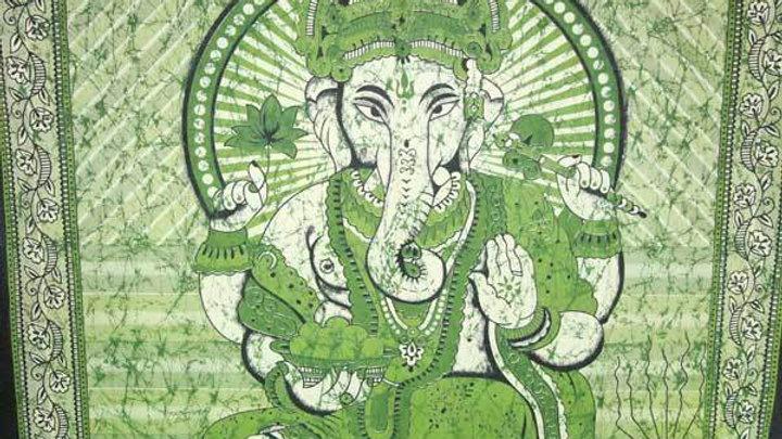 Green Ganesha Holding Lotus Flower In Batik Style Tie Dye Tapestry