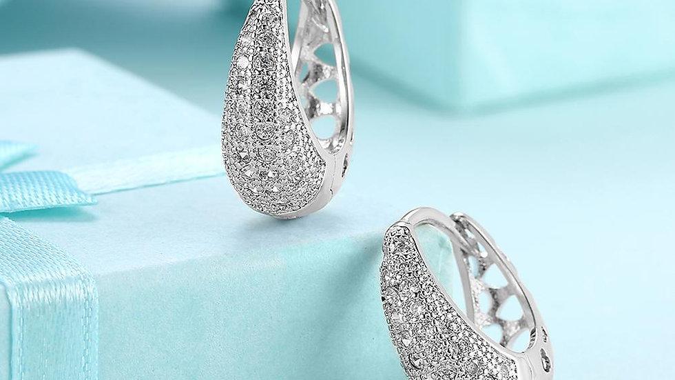 Valentines Crystal Pav'e Earrings Set in 18K White Gold