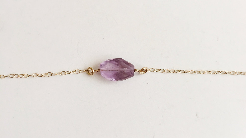 Amethyst Faceted Oval Minimalist Necklace