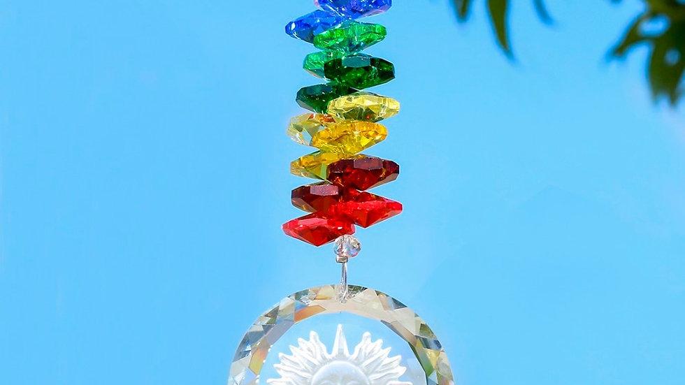 H&D Handmade Crystal Glass Sun Charm Chakra