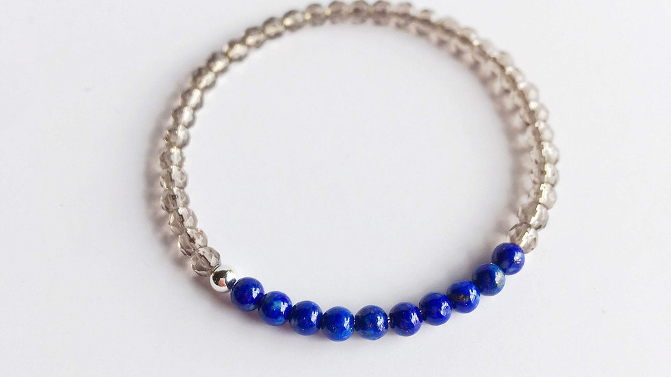 Lapis Lazuli and Smoky Quartz Bracelet