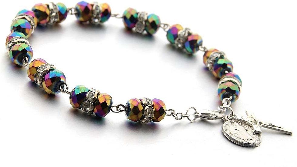 Crystal Beads Catholic Rosary Bracelet Christian Cross Bracelet Crystal Bracelet