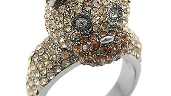 0W279 Ruthenium Brass Ring with Top Grade Crystal