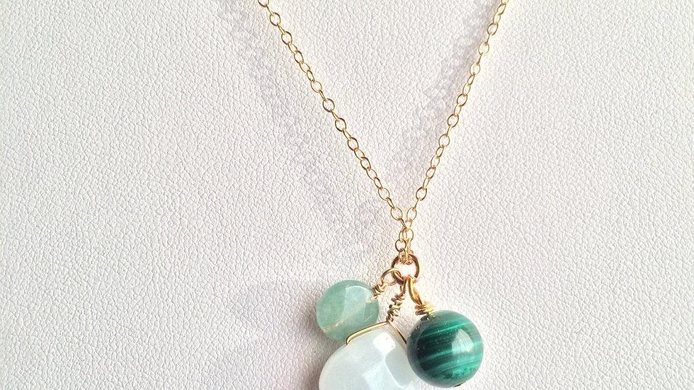 Amazonite, Aventurine and Malachite Sterling Silver Necklace