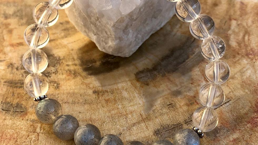 Labradorite & Crystal Quartz Stretch Bracelet! Blue Flash & Handmade!