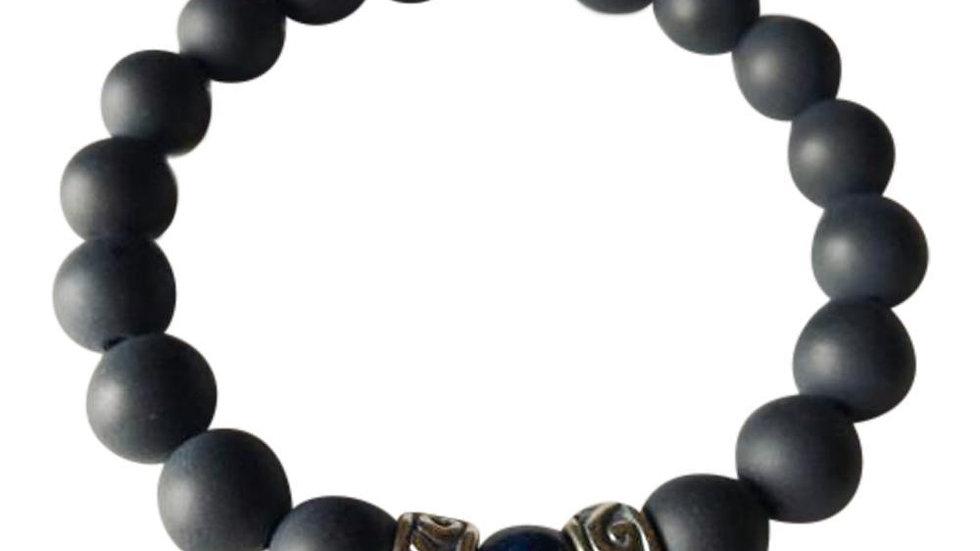 Matte Onyx and Lapis Lazuli Sterling Silver Bracelet