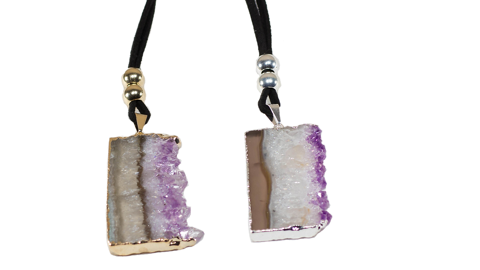 Amethyst Vertical Slice on a Leather Necklace