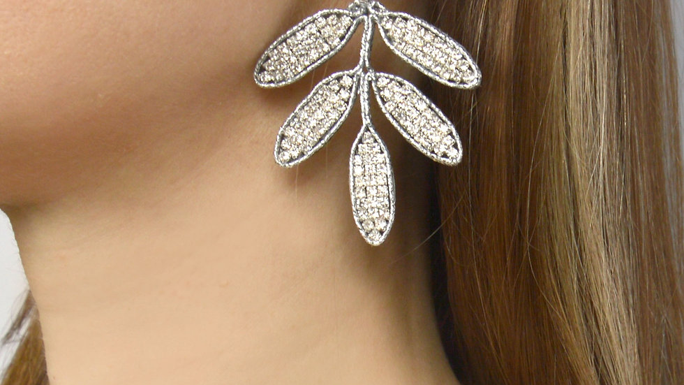 Botanical earrings with crystals Leaf