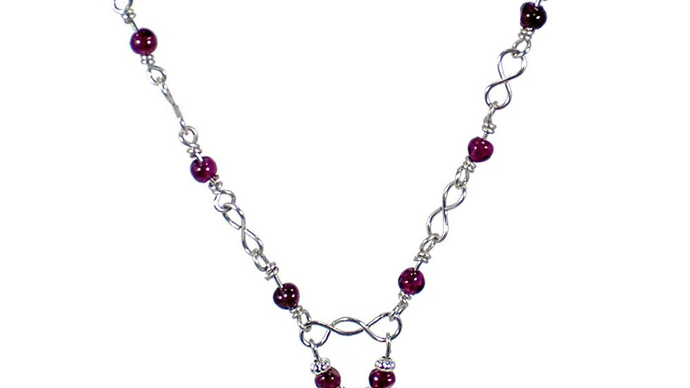 Garnet and Ruby Quartz Teardrop Beaded Necklace