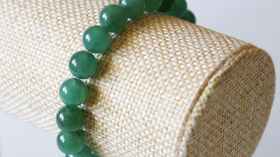 Green Aventurine Bracelet 17cm / 6,70 inch -Beads 8mm / 0,31inch