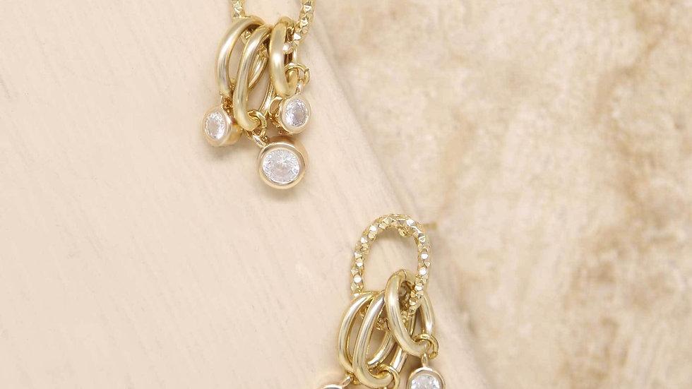 Mini Crystal Jingle Dangle 18k Gold Plated Earrings