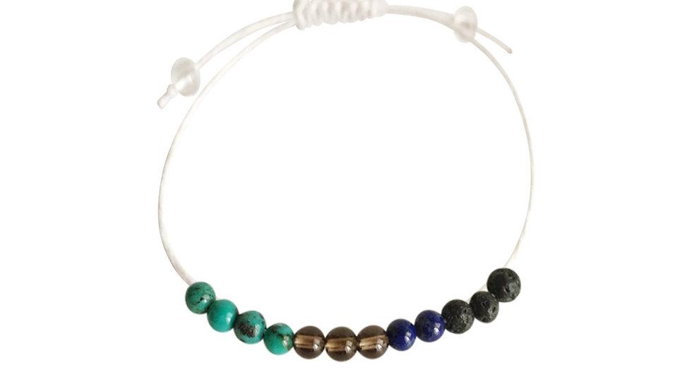 Lapis Lazuli, Smoky Quartz & Turquoise + Hemp + Choice of Anklet or