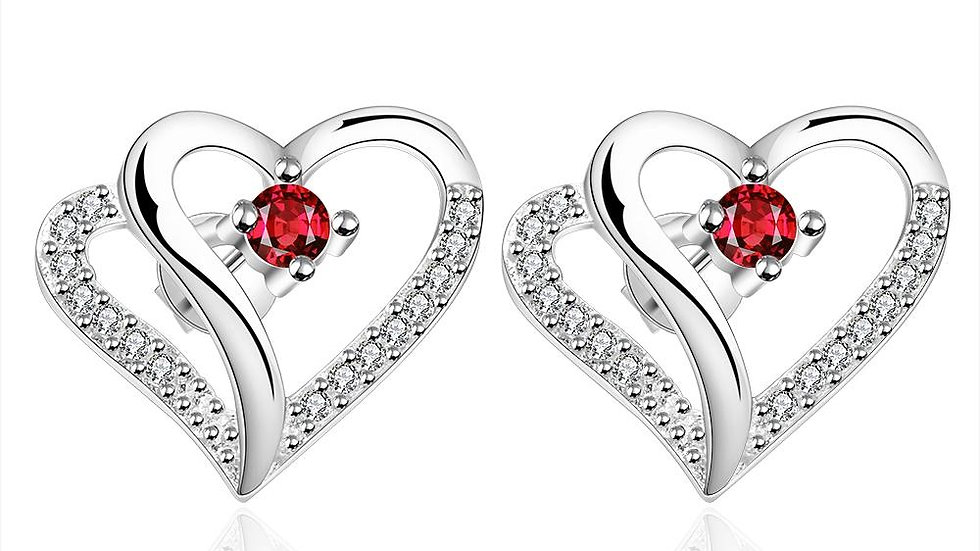 Ruby Double Heart Stud Earring in 18K White Gold Plated
