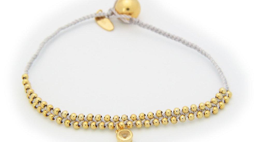 "April Crystal (Cz) Ivory Cord Bracelet in Vermeil, 6"""