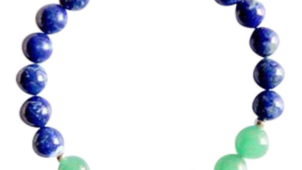Lapis Lazuli, Aventurine & smoky Quartz Sterling Silver Bracelet
