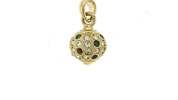 LOA393 Gold Brass Pendant with Top Grade Crystal