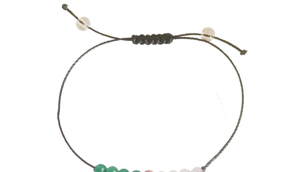 Aventurine, Rhodonite, Rose Quartz + Nylon + Choice of Anklet or Bracelet