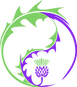LimeThistle Acupuncture Logo.  A lime and purple spikey yin / yang symbol with a purple thistle with green flower.