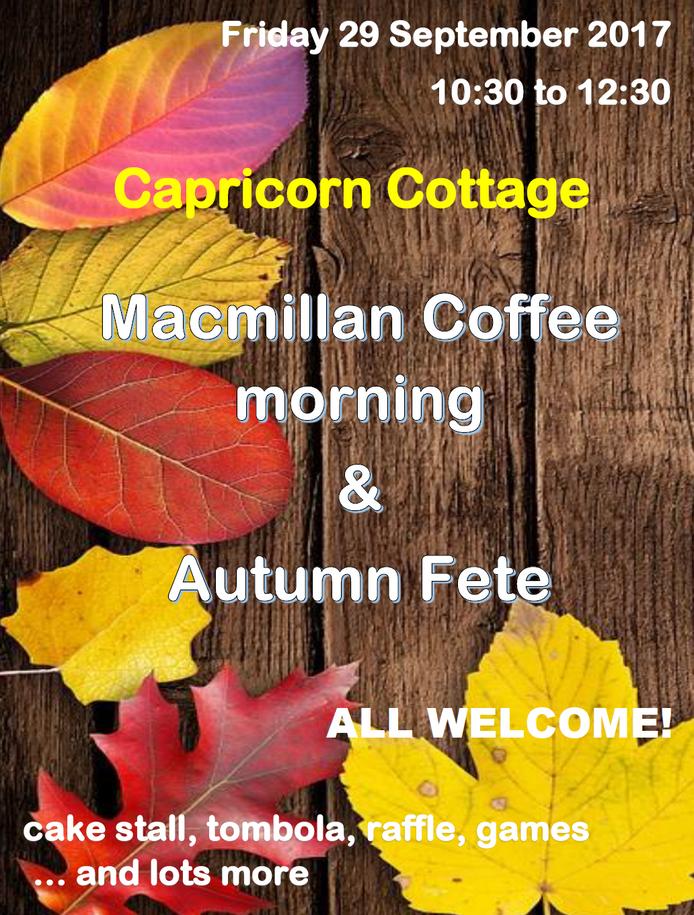 Macmillan Coffee Morning at Capricorn Cottage