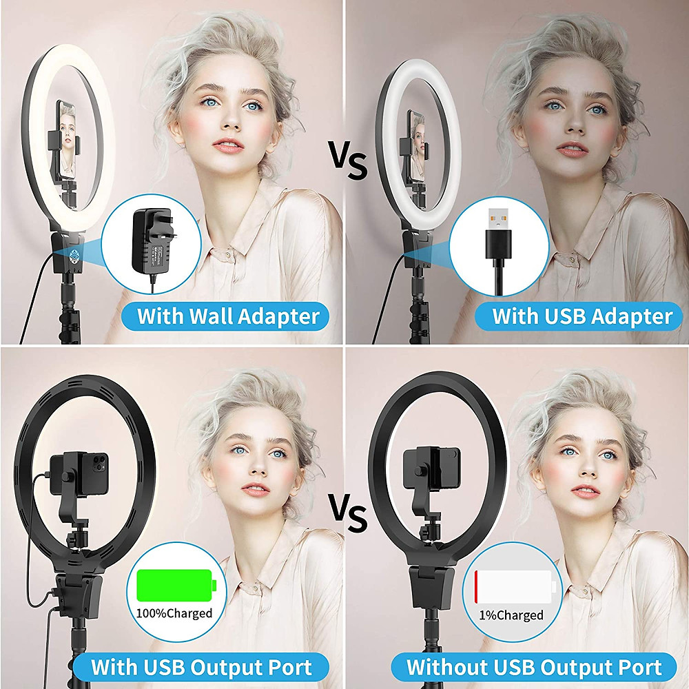 """12""""Selfie Ring Light with Adjustable Tripod Stand & Cell Phone Holder for Live Stream, YouTube Video, Makeup"""