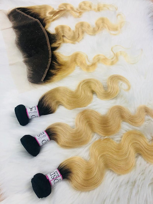 """Bundle deal 613 with dark roots 16""""18""""20"""" + 16"""" frontal"""