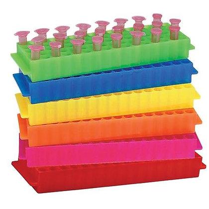 GRADILLA DE PLASTICO PARA 80 MICROTUBOS DE 1.5/2.0ML, PAQUETE CON 5 PZAS, 5 COL