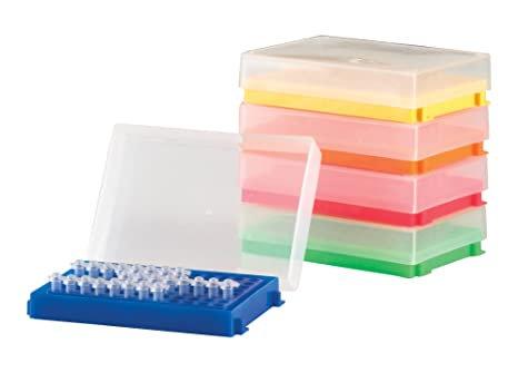GRADILLA PARA PCR, DE 96 POZOS CON TAPA, COLORES SURTIDOS, PAQUETE CON 5 PIEZAS