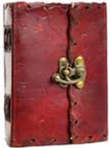 """1842 Poetry leather blank book w/ latch 4"""" x 5"""" made in USA"""