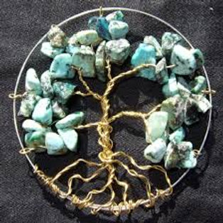 Tree of Life Gemstone Pendant  or Car Hanger