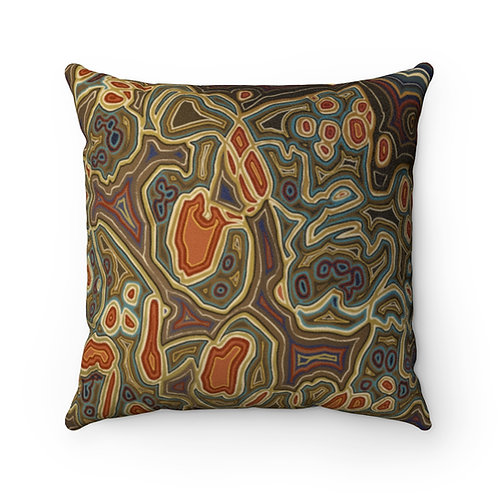 Brown Faux Suede Square Pillow
