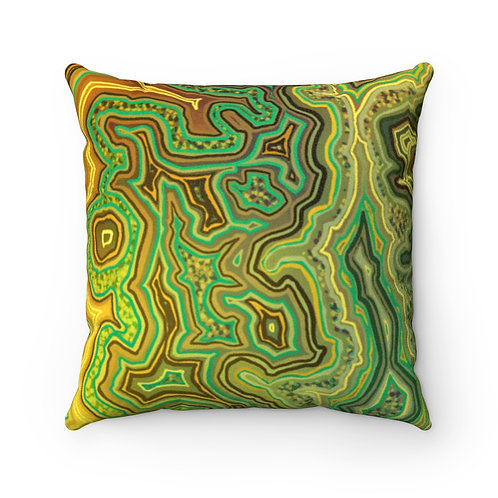 Green Faux Suede Square Pillow Case