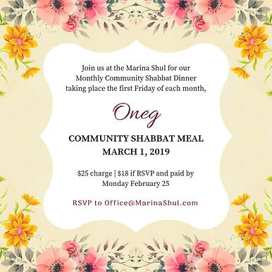 Oneg Shabbat March 2019