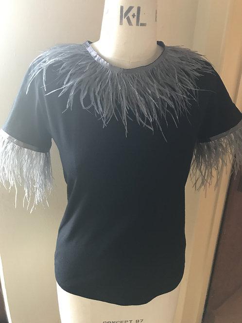 Grey Ostrich Feathered Trim T-Shirt