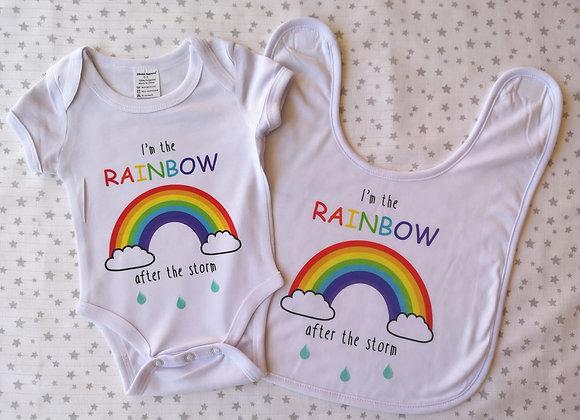 Rainbow Baby Personalised Bodysuit & Bib Set - Onesie - Baby Grow